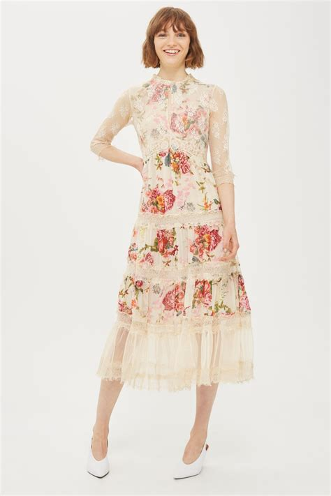 Dress Midi Flower lace tier floral midi dress topshop usa