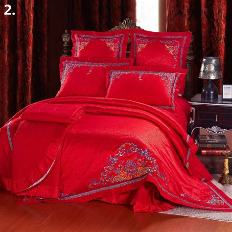 Bridal Bed Sets Classic Wedding Bedding Set King Size Jacquard Embroidery 100 Cotton Bed Linens