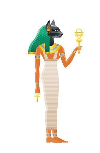 ancient egyptian goddess bastet deity  cat head