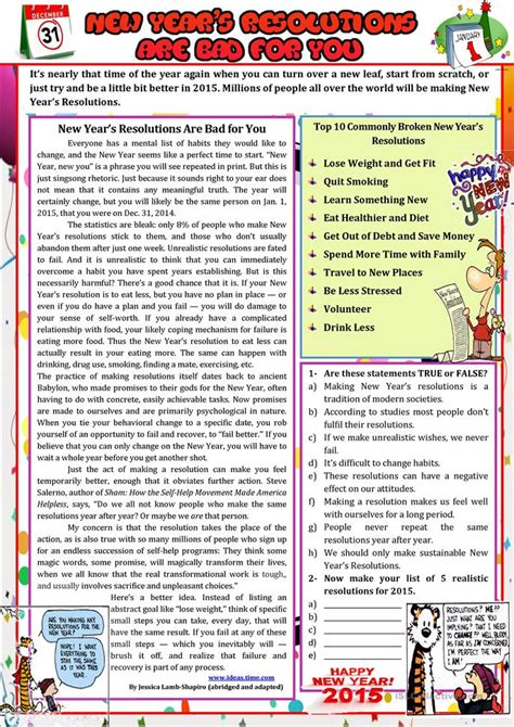 new year activities for esl students new year s resolutions are bad for you worksheet free