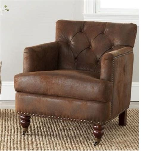 small brown leather armchair small club chair brown worn leather look low back tufted