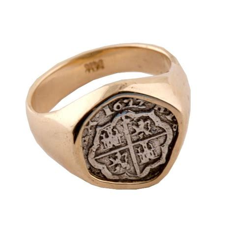 atocha re creation silver coin 14k gold ring mel fisher