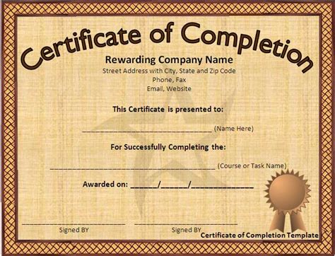 completion certificate template free free certificate of completion template word excel pdf
