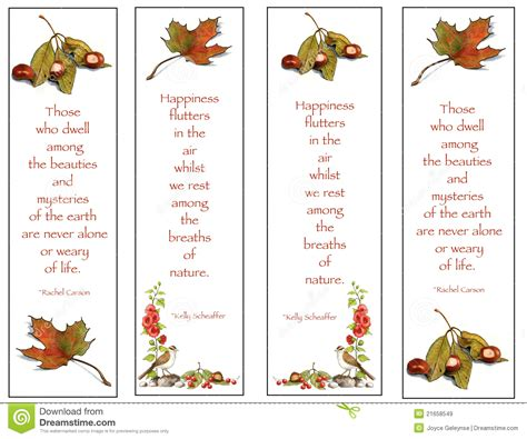 free printable nature bookmarks four bookmarks nature drawings with quotes stock