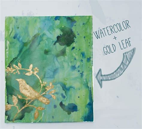 watercolor leaves tutorial the finished watercolor painting with gold leaf craft