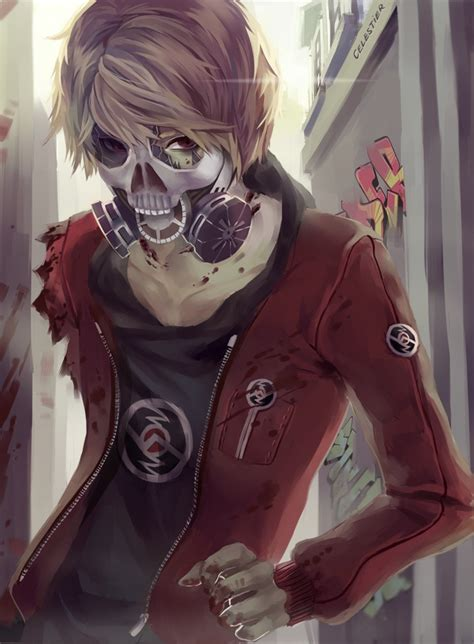 hot anime zombie anime anime boy gas mask manga mask skull mask blood