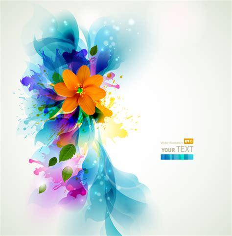 Inkjet Floral Background Vector Free Vector Graphic Download Drawing Colorful Flower Backgrounds For Powerpoint Templates