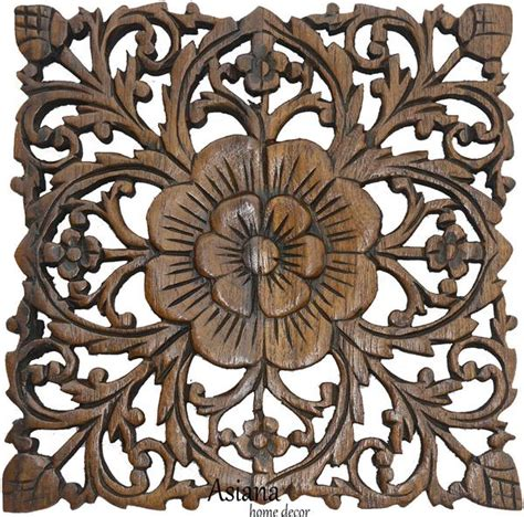 teak wood carved wall plaques floral wood wall panels wall hangings asiana home decor