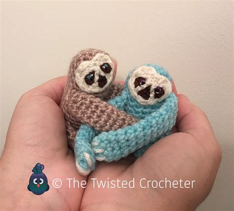 knitted sloth crochet amigurumi baby finger sloth pattern free