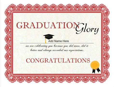 graduation certificate template free printable sunday