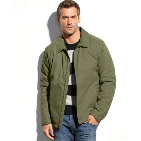 Cole Basic Twill Khaki hilfiger zipfront microtwill jacket in green for