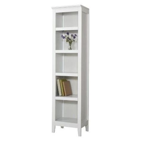narrow white bookcase threshold carson narrow 5 shelf bookcase white