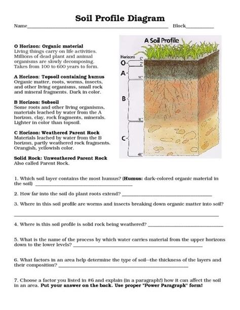 Soil Formation Worksheet Answers by Soil Profile Diagram 8th 10th Grade Worksheet Lesson Pla