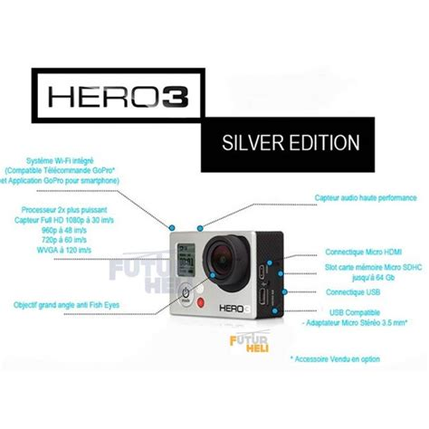 gopro 3 silver edition achat gopro h 233 ro3 silver 233 dition dispo chez