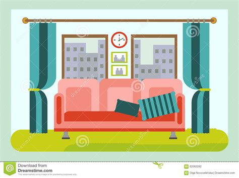 Comfortable Living Room Interior With Furniture. Cartoon