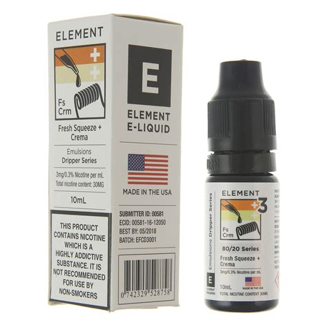 buy fresh squeeze crema by element e liquid premium dripper series emulsions at redjuice co uk