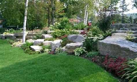 Landscaping Ideas Large Gardens Large Rock Garden Ideas With Green Grass Rock