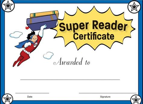 reading certificate template reader certificate for boys reward your students