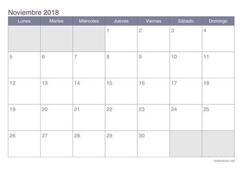 Calendario Imprimir Calendario Noviembre 2018 Para Imprimir Icalendario Net