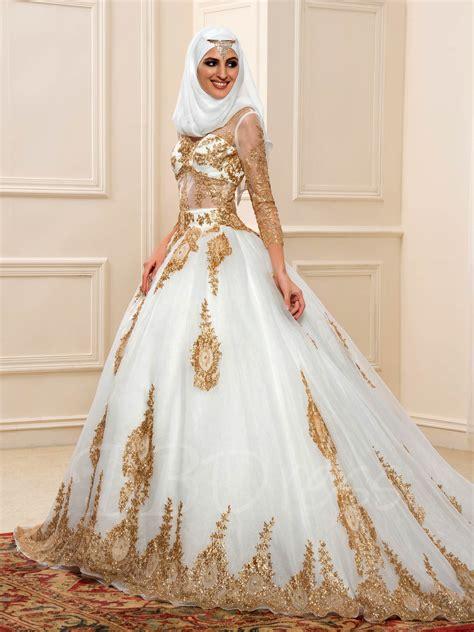 Chapel Wedding Dress by Luxurious Gold Sequins Sleeves Chapel Arabic Muslim