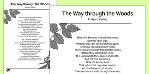the way through the the way through the woods by rudyard kipling poem poem poetry