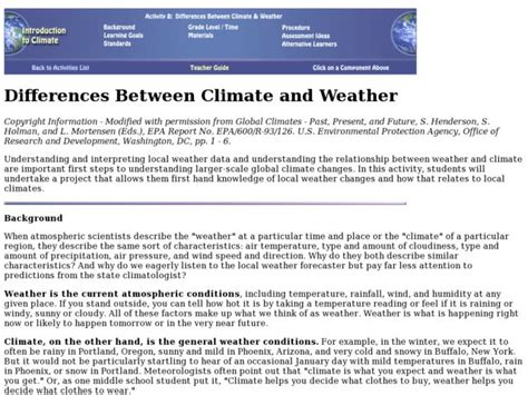 Weather Vs Climate Worksheet by 6th Grade Weather And Climate Worksheets Weather Related