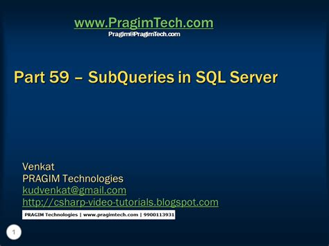 sql subquery tutorial sql server net and c video tutorial part 59