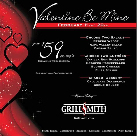 restaurants valentines day s day at grillsmith restaurants ta florida