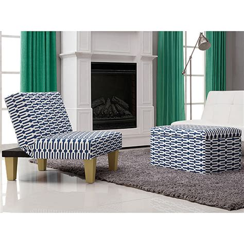 blue and white ottoman aria accent chair and storage ottoman blue and white