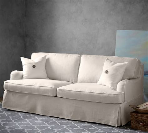 who manufactures pottery barn sofas soma hawthorne english arm slipcovered sofa pottery barn