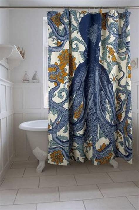 octopus curtains octopus shower curtain blue yellow fabric designer