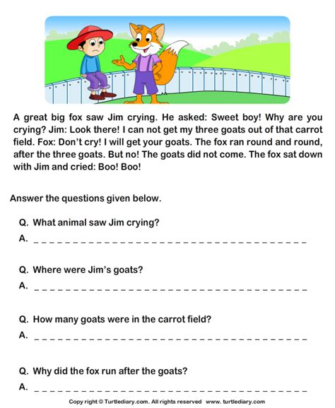 reading comprehension stories 6 worksheet turtlediary
