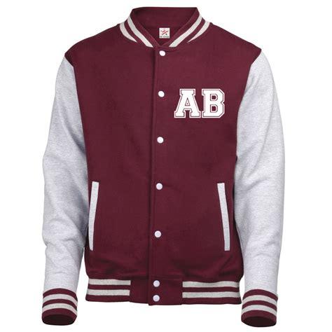 design hoodie varsity jacket personalised front left breast varsity jacket initials