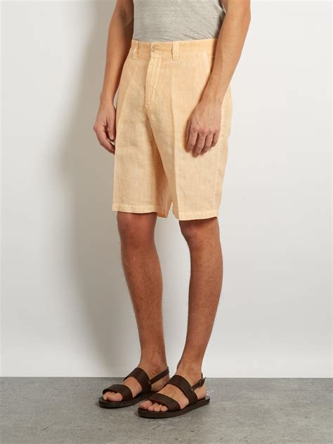 Kaos Pocket 04 Yellow 120 lino mid rise slim leg linen shorts in yellow for
