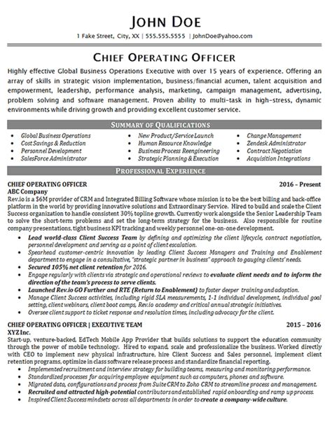 Chief Operating Officer Sle Resume by Coo Chief Operating Officer Resume 28 Images Executive Resume Sles Elizabeth Bradford The