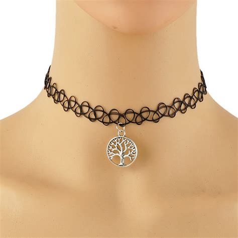 black tattoo choker necklace choker stretch necklace black retro henna elastic