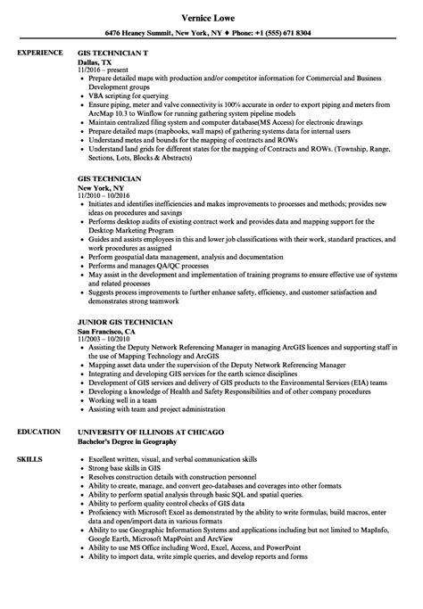 fine gis technician resume photos exle resume ideas