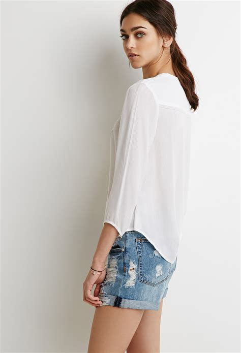 Blouse Tiara White lyst forever 21 embroidered peasant blouse in white