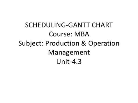 Mba Units by Mba Ii Pmom Unit 4 3 Scheduling Gantt Chart A