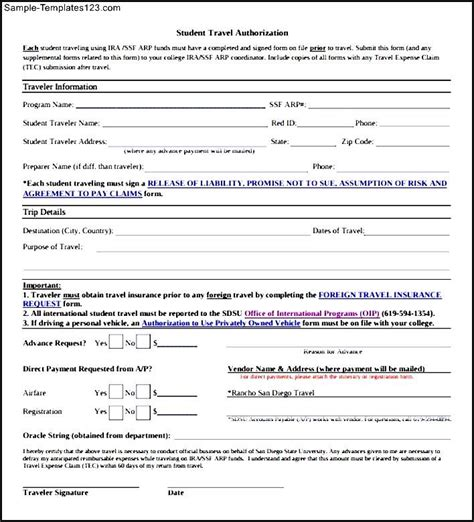 downloadable travel authorization form sle templates