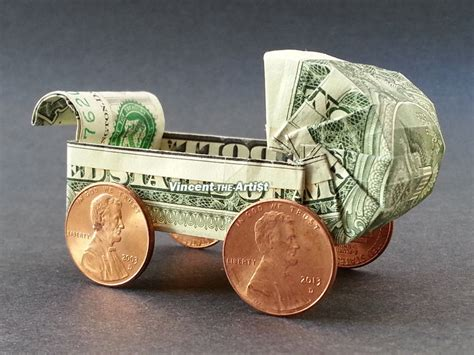 Origami Carriage - money origami baby buggy dollar bill made with 1