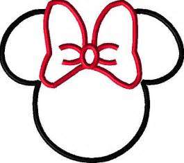 mouse head with bow applique design by