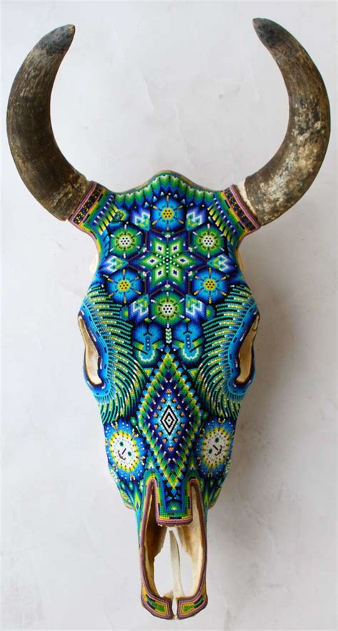 Decorated Cow Skulls For Sale by Beautiful Huichol Indian Beaded Cow Skull Cow Skull