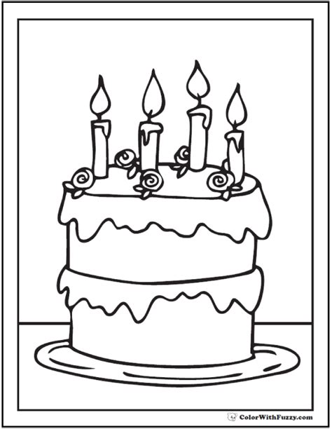 coloring page for cake decorating 28 birthday cake coloring pages customizable pdf printables