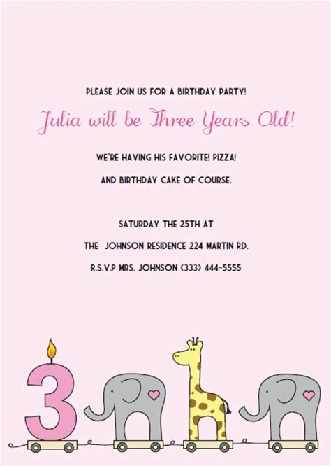 3rd anniversary card template printable 3rd birthday invitations diy invitation kits