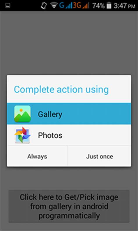 android tutorial image gallery action using android exles