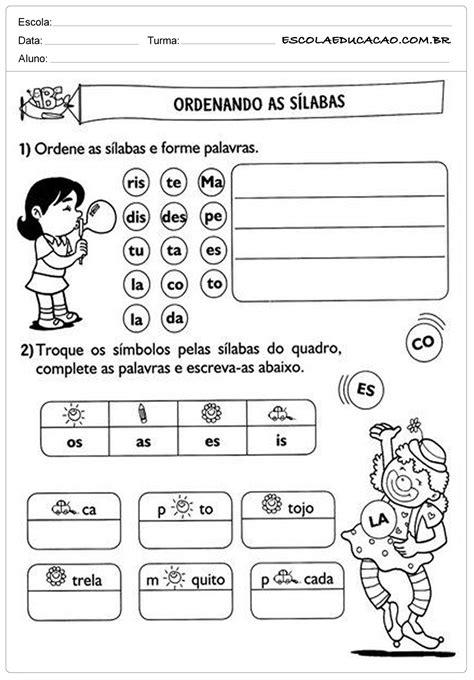 Atividades de Português 2º ano - Ordenando as Sílabas