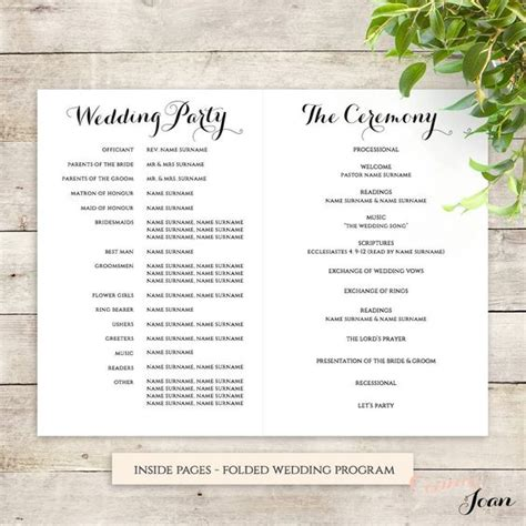 wedding order of service template byron printable wedding order of service template