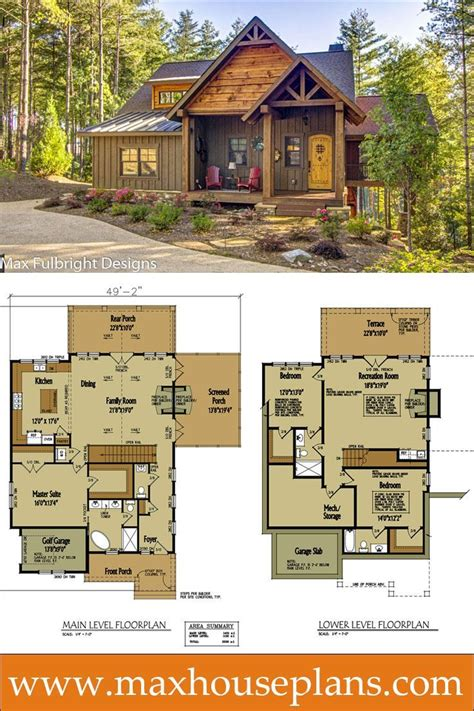 small cabin home plan with open living floor plan in 2018