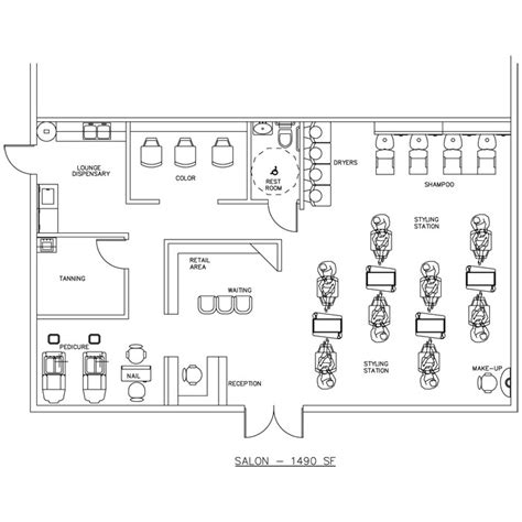 Hair Salon Floor Plans by Salon Floor Plan Design Layout 1490 Square Foot